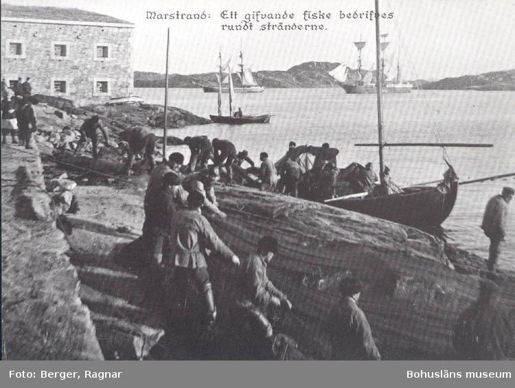 """Tryckt text på kortet: """"Marstrand : Ett gifvande fiske bedrifves rundt stränderna.""""  """"Clara-Förlaget, Lysekil Tel. 0523/ 10919.10320."""""""