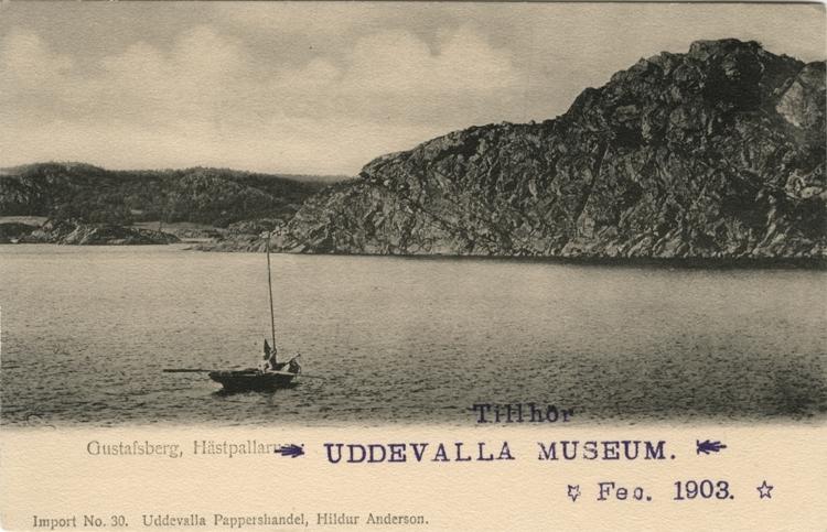 """Tryckt text på vykortets framsida: """"Gustafsberg, Hästpallarna."""""""