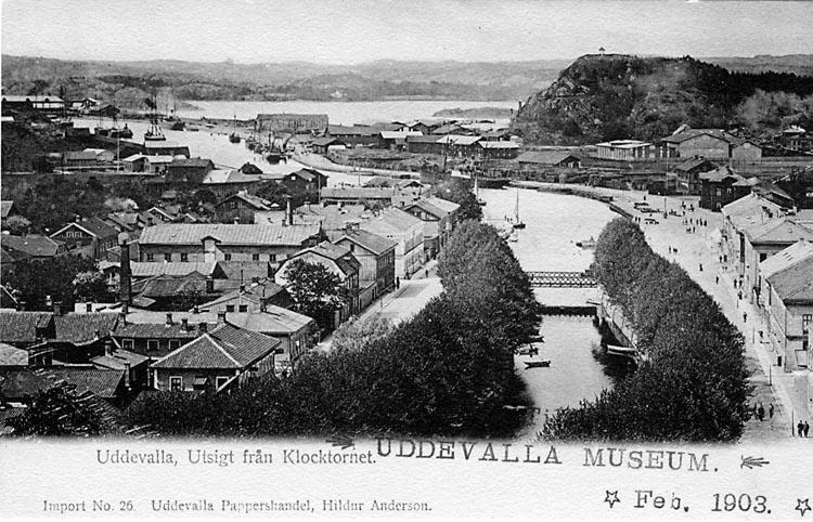 """Tryckt text på vykortets framsida: """"Uddevalla, utsigt från klocktornet."""""""