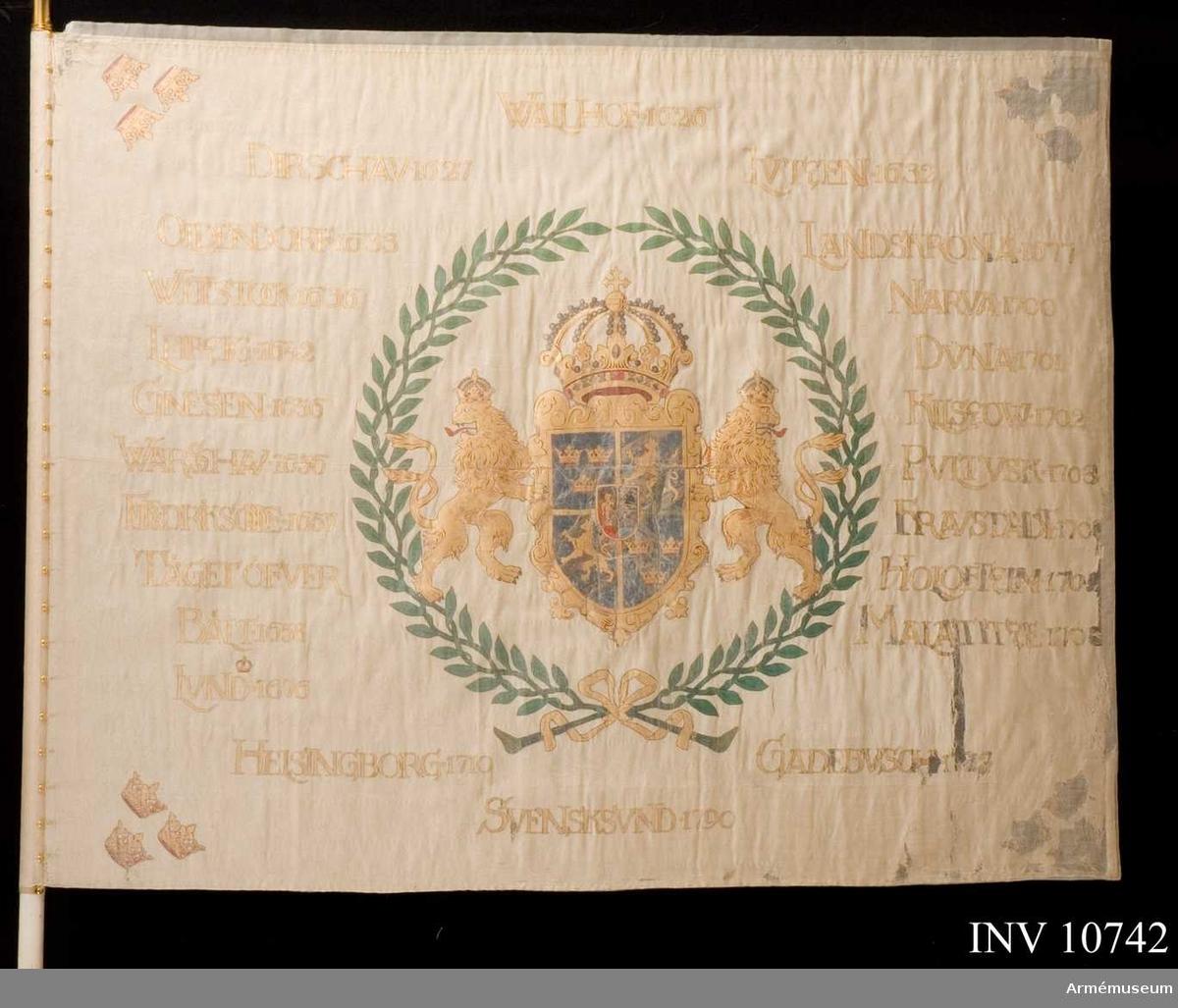 Grupp B.  Livregementet till fot kom senare att heta Livregementets grenadjärer, fanan tillhörde 3 bataljonen.