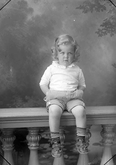 """Enligt fotografens journal Lyckorna 1909-1918: """"Brunius, Skådespelare (gossen) Stockholm"""". Enligt fotografens notering: """"Paul Brunius, Sv. Teatern Sthk""""."""