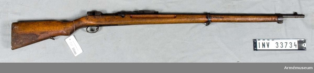 Gevär m/1907, infanteri, Japan.Grupp E II.Mekanism, magasinsbotten, läskstång o avtryckare och handskydd saknas.