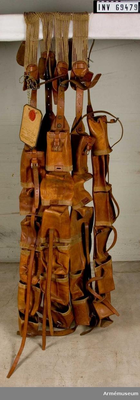 Gjord av rep varifrån utgår fyra läderplattor med söljor på varje sida. I söljorna hänger fem läderband med sex packfickor å varje.  Samhörande med putor