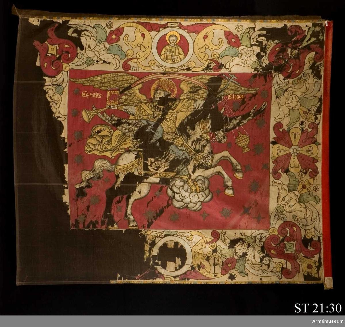 Huvudmotivet föreställer Sankt Mikael, apokalypsens ärkeängel.
