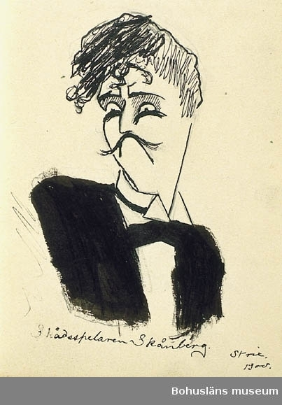 Ragnar Ljungman 1900. Nr. 4. Innehåller teckningar för skämttidnngen Strix. För uppgifter om konstnären Ragnar Ljungman, se RL001.
