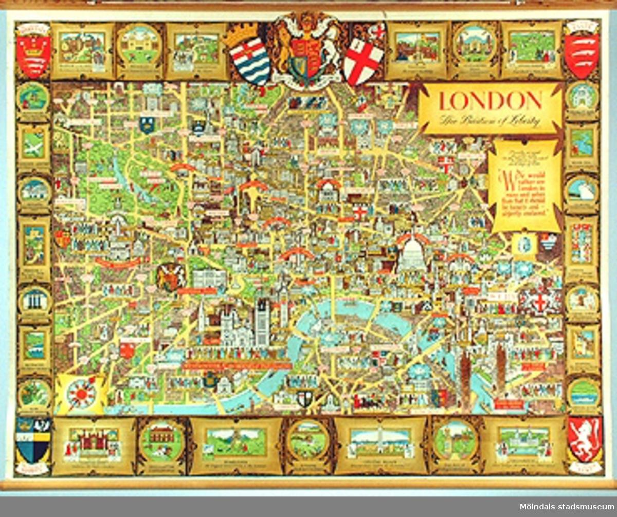 """Skolplansch """"London - The Bastion of Liberty"""", märkt nr 33.Illustration av London.33b. Bild 2 visar en närbild av det övre högra hörnet."""