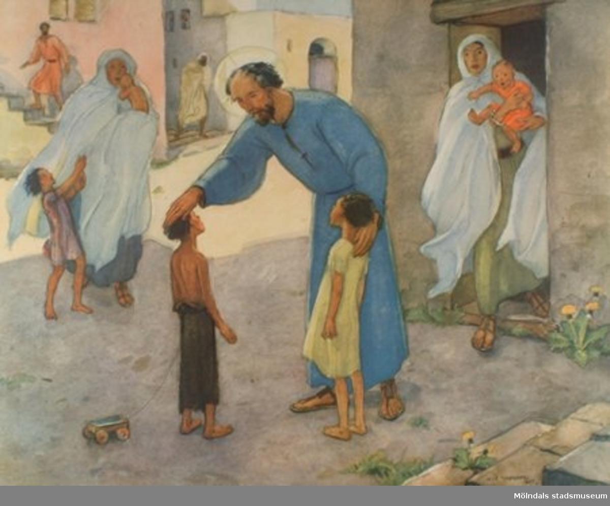 Kristendomskunskap.Jesus välsignar barnen.  (Mark. 10:13-16).Konstnär: Olle Hjortzberg 1947.Tryckt 1949 av Victor Petterssons bokindustri AB, Stockholm.