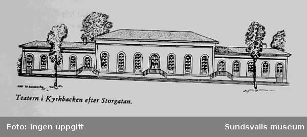 Teckning av Waldemar Sandström som visar den gamla teatern som låg i Kyrkbacken .