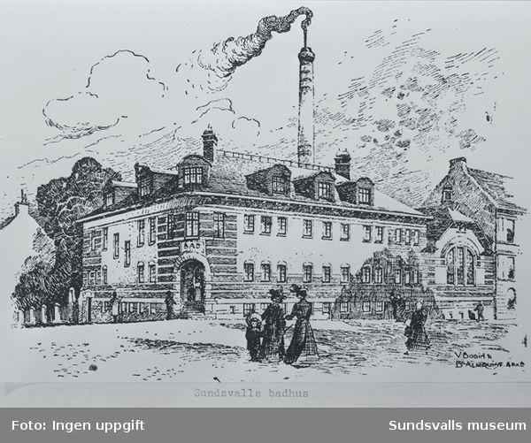 Sundsvalls varmbadhus. Skiss av Bodin & Almkvist i Stockholm. 1908 stod badhuset klart.