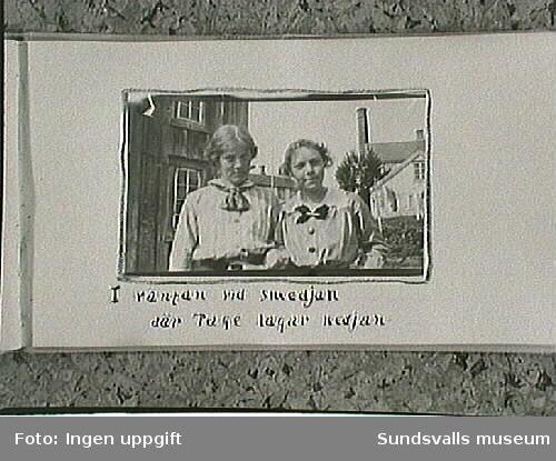 Maja Braathen och Lisa. Amatörfotografier ur fotoalbum från resa med cykel till Trondheim, Norge, sommaren 1915. Maja Braathen, Gunnar Johansson, Tage, Atti, Lisa.