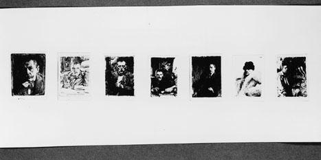 Frimärksförlaga till frimärket Anders Zorn, utgivet 18/2 1960. Anders Zorn (1860 - 1920). Textkomposition av frimärksgravören Arne Wallhorn. Förslag till frimärksmotiv. Förminskade foton till frimärksformat av 6 st etsningar visande Zorns självporträtt samt 1 st porträttfoto (2:a från höger)