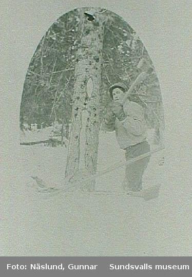 Skogshuggare ca 1920, kamrat till Gunnar Näslund.