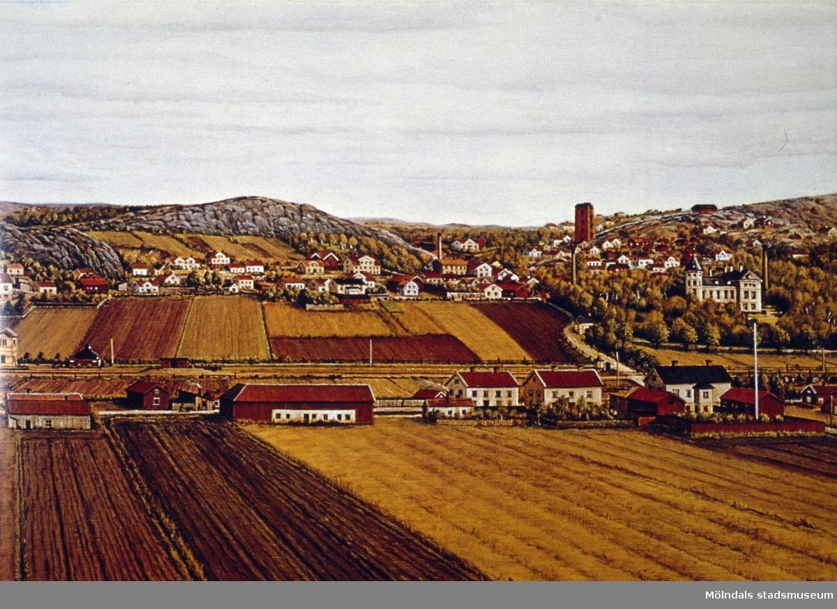 """Utsikt från Fässbergs kyrka mot Mölndalsbro och Mölndals Kvarnby, omkring 1890. I bildens mitt till höger ser man den vita Papyrusvillan (slottet). Snett framför ligger det höga, röda syratornet """"Sodom"""". Målningen hänger i kommunstyrelsens sammanträdesrum i Stadshuset. Bilden är avfotograferad från """"Mölndal 50""""."""