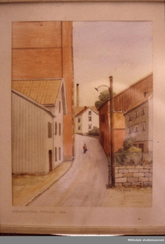 Götaforsliden i Kvarnbyn, Mölndal.En tavla målad av den naivistiske mölndalskonstnären Knut Berg.