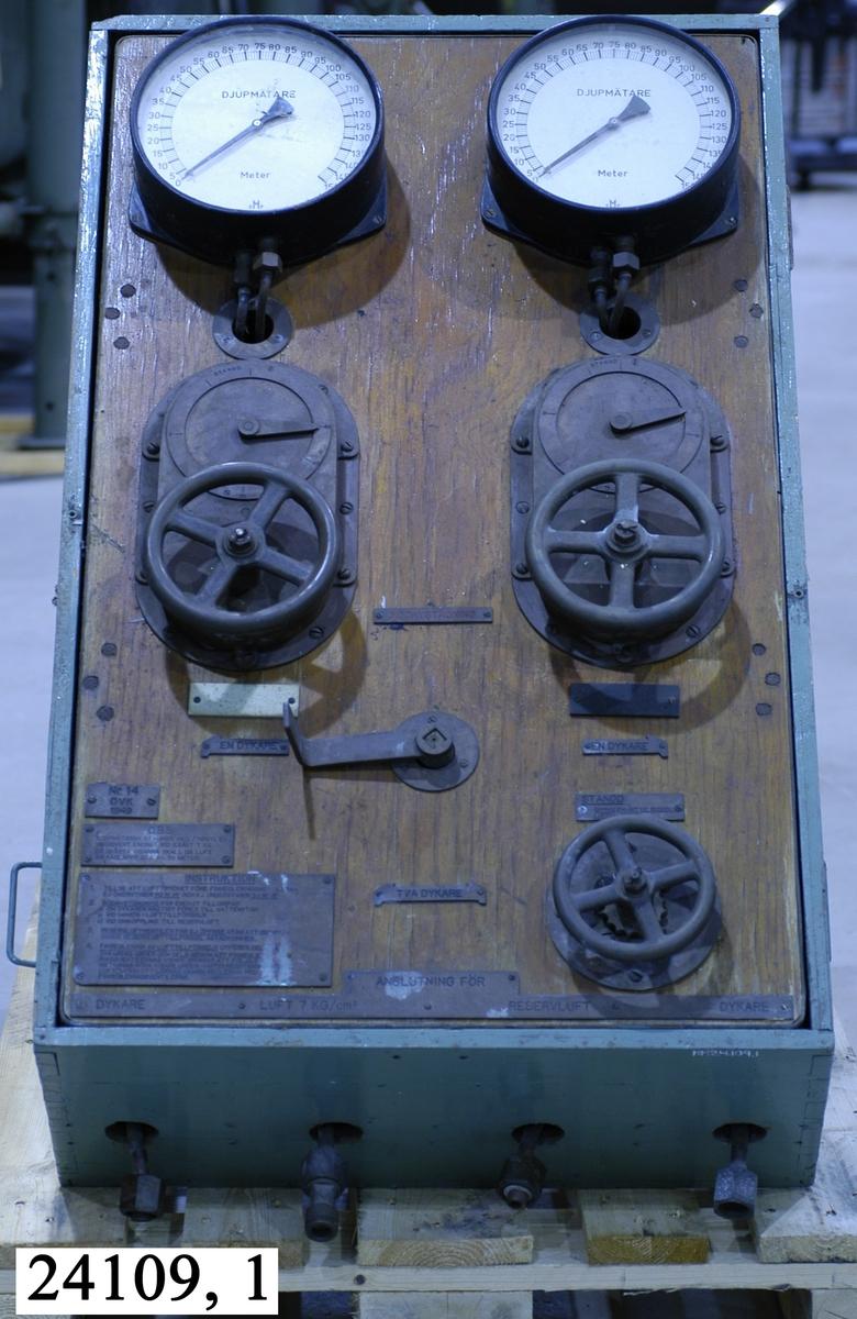 """Dykartavla nr 14 vid Örlogsvarvet i Karlskrona 1949. Instrumenttavlan sitter på träplatta fäst i en turkos låda av trä. På respektive sida sitter två handtag. På tavlan sitter överst två manometrar (en för varje dykare), de har vit visartavla med texten """"DJUPMÄTARE"""" och är graderade 0-150 meter. Tavlorna har en ställbar visare. Under respektive manometer sitter regleringsventiler manövrerade av rattar med visare, graderade 0, 10, 20, 30, 50 och ett stängningsläge. Under sitter en manöverspak för val av en eller två dykare, nödavstängning eller stängning. Intill sitter stansade instruktionstavlor av metall. På undersidan sitter ventiler för koppling av luftslangar till dykarna samt för reservluft och luft 7 kg/cm2."""