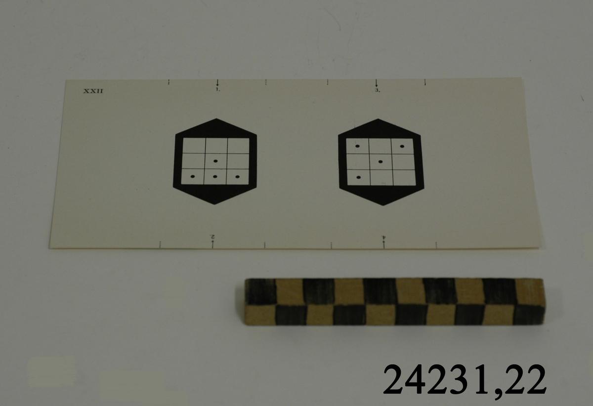 Rektangulärt vitt pappersark numrerat XXII i övre vänstra hörnet. Utmed långsidornas kanter, små markeringar med streck och siffrorna 1 - 4. På arket syns två stycken olika bilder i svartvitt, en för vardera öga. Till vänster: Svart figur med vit kvadrat indelad i nio stycken små fält. I fyra av fälten en svart punkt. Till höger: Samma figur med fyra punkter men i denna bild är punkterna placerade i andra fält.