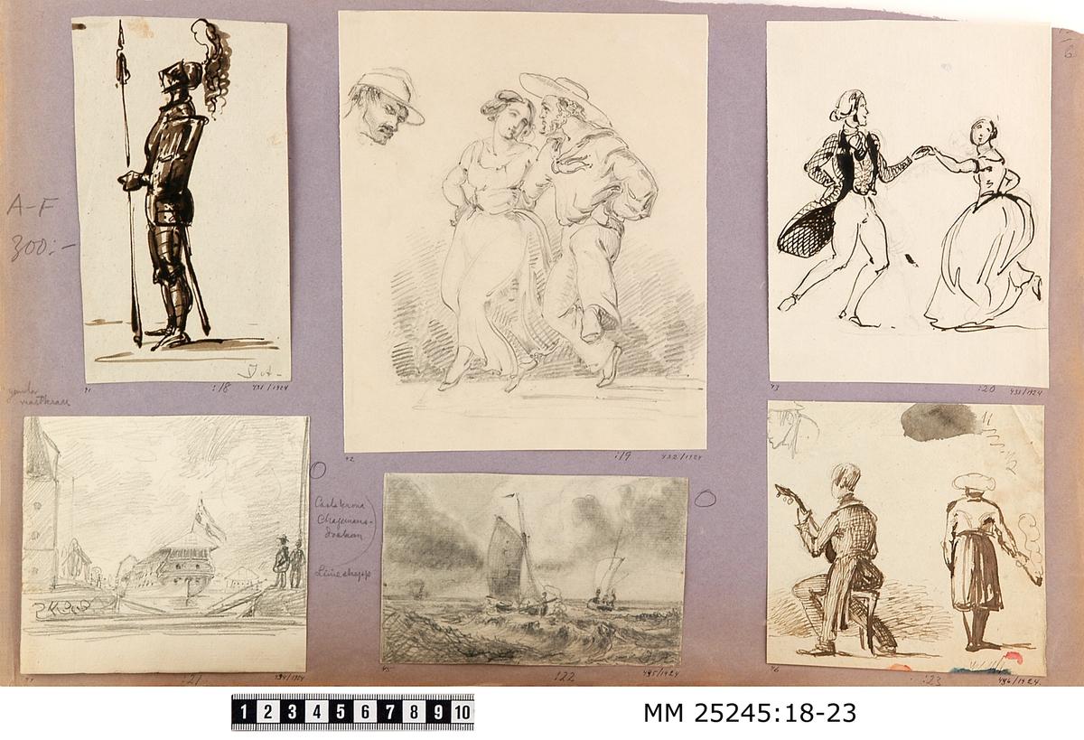 Teckning i svart tusch föreställande ett par som dansar. En man och en kvinna håller varandra i handen i ett dansande steg. Mannen i ståtlig position med uppsatt hår, kråsskjorta och frack. Kvinnan med håret i knut och iförd bylsig klänning. Tydlig skiss av blyerts är kvar. Monterad på ljuslila/grått papper tillsammans med MM 25245:18-23.