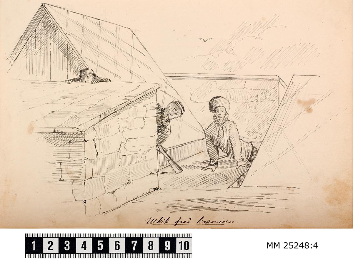 Pennteckning medtre soldater som spanar ut från en av vallarna på Kungsholms fort. Text under teckning berättar historien.