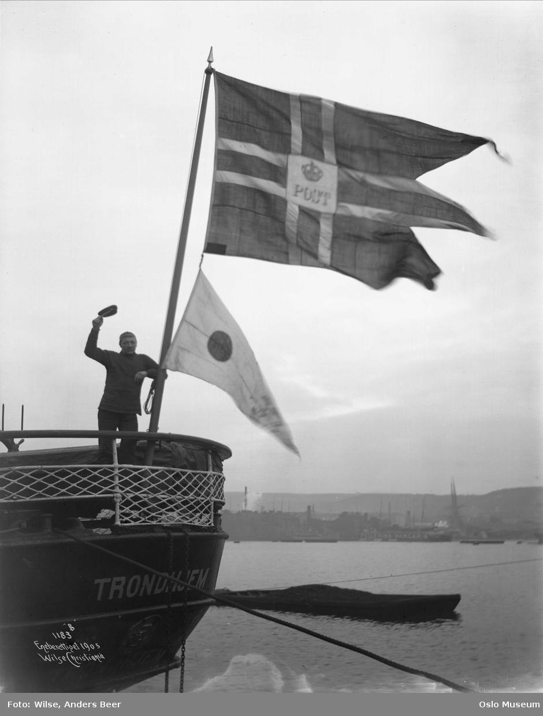 folkeavstemning, skip Trondhjem, akterstavn, post-flagg, ja-flagg, sjømann
