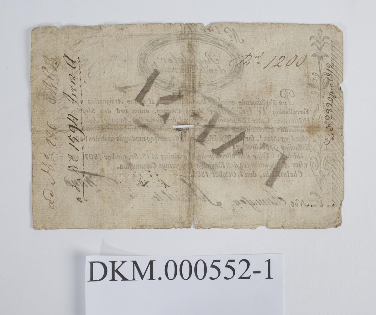 Forfalskning av seddel for ti riksdaler fra 1807.