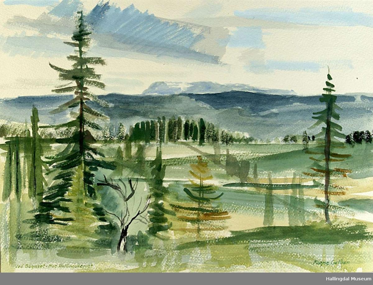 Enkelt/ stilistisk/ delvis abstrakt landskapsmaleri i grønn-farger. Fjell, skog og vegetasjon.