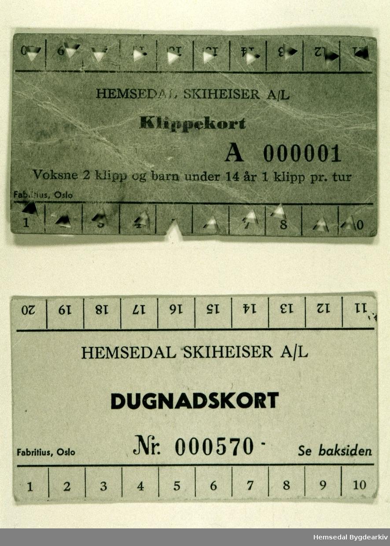 Klippekort nr.000001 i Hemsedal skiheisar i 1961 Dugnadskort nr.000570 i Hemsedal skiheisar i 1961 Starten på Hemsedal Skiheisar, i dag Hemsedal skisenter, vart eit bygdatiltak der det vart lagt ned særs mykje dugnadsarbeid for å få det heile i gong.