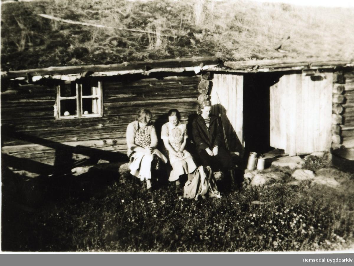 Frå venstre: Ukjend, Torlaug Bakko, Ukjend på Robøle i Lykkja i Hemsedal, ca. 1946