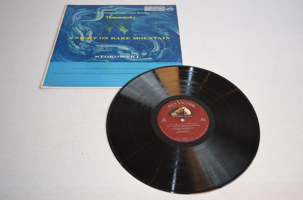Grammofonplate med etui i papp.