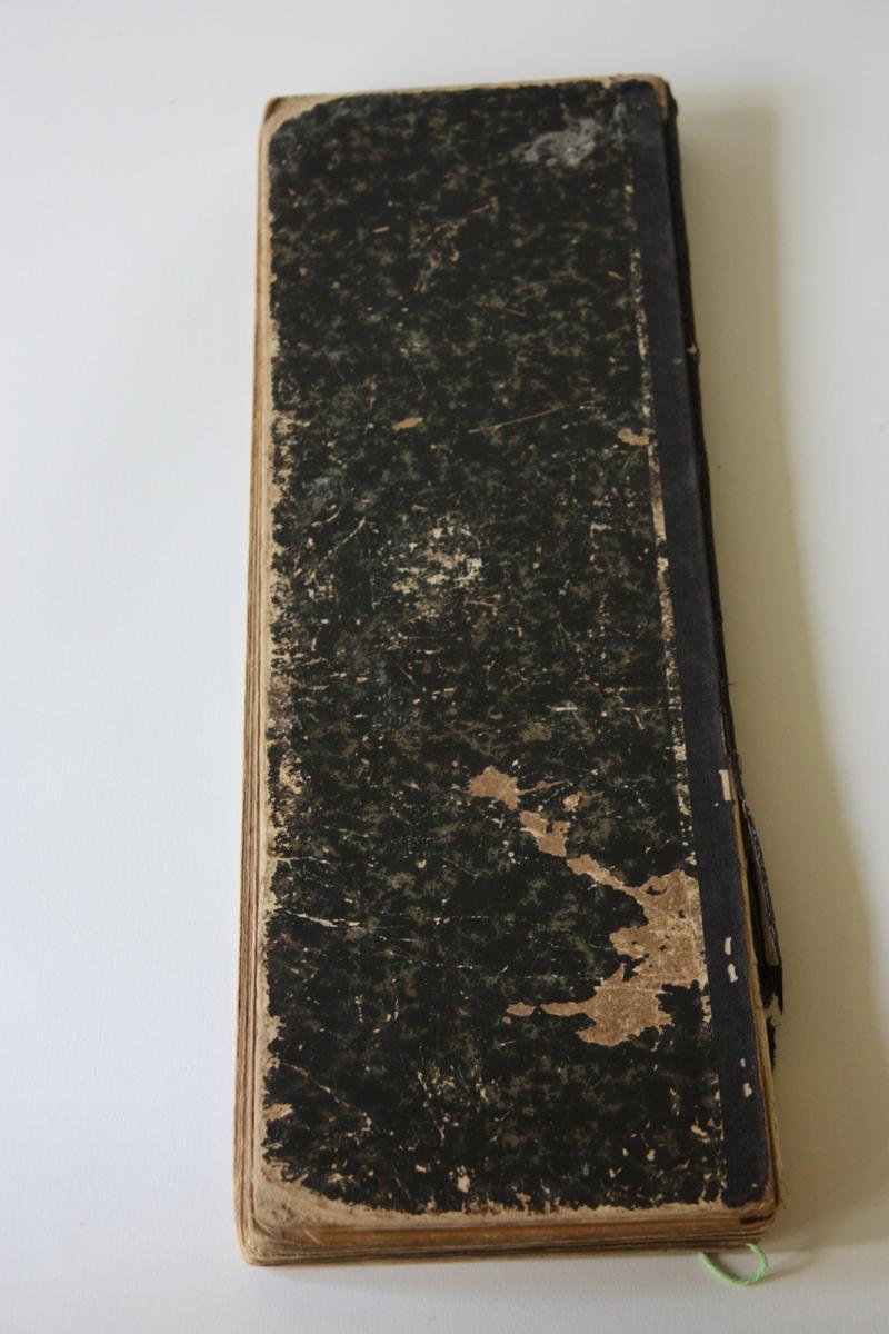 Kladd for notering av leverte tenester, anten i form av reparasjonar eller nye sko og støvlar.. Namna er kryssa ut når vara er betalt. Første dato er 20.april 1908, siste17. januar 1916.