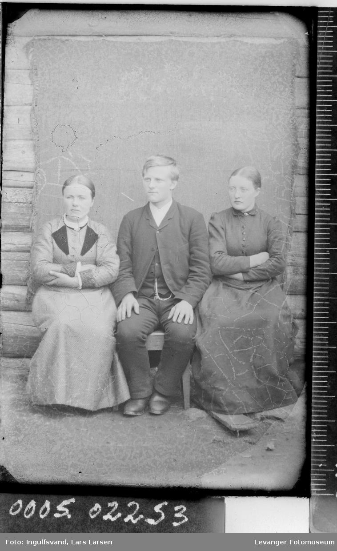 Portrett av to sittende kvinner og en mann,