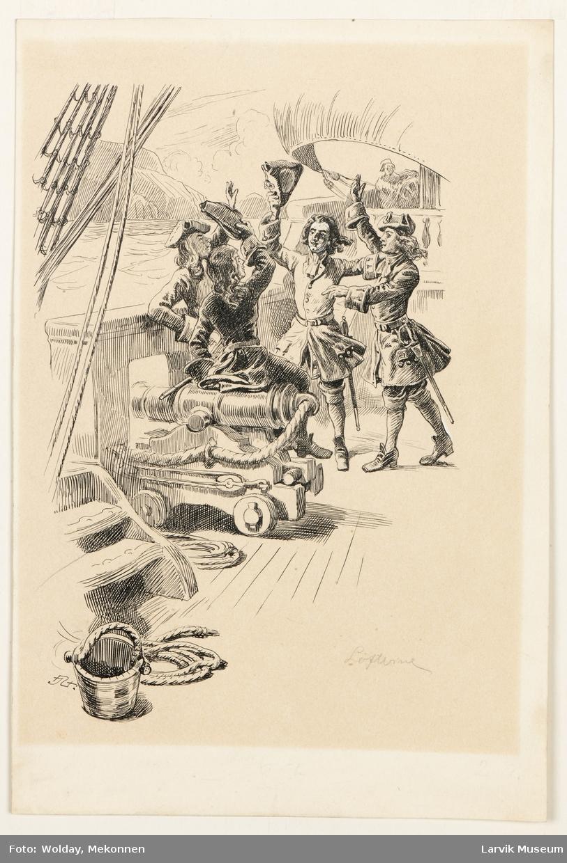 1710. Ved hjemkomsten fra Ostindia. Kadettene lover å følge i Huitfeldts spor!