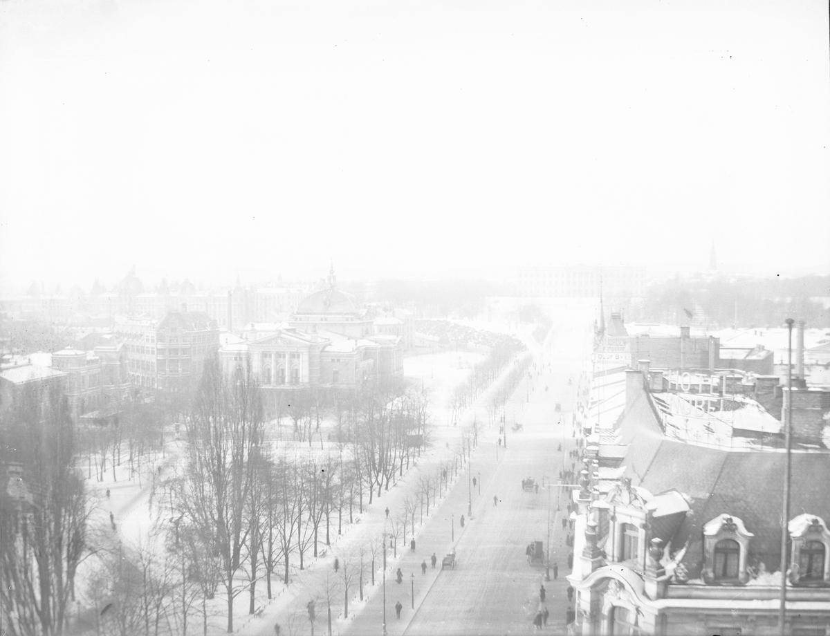 Utsikt over by - hustak i Christiania, Karl Johans gate med Nationaltheatret og Slottet