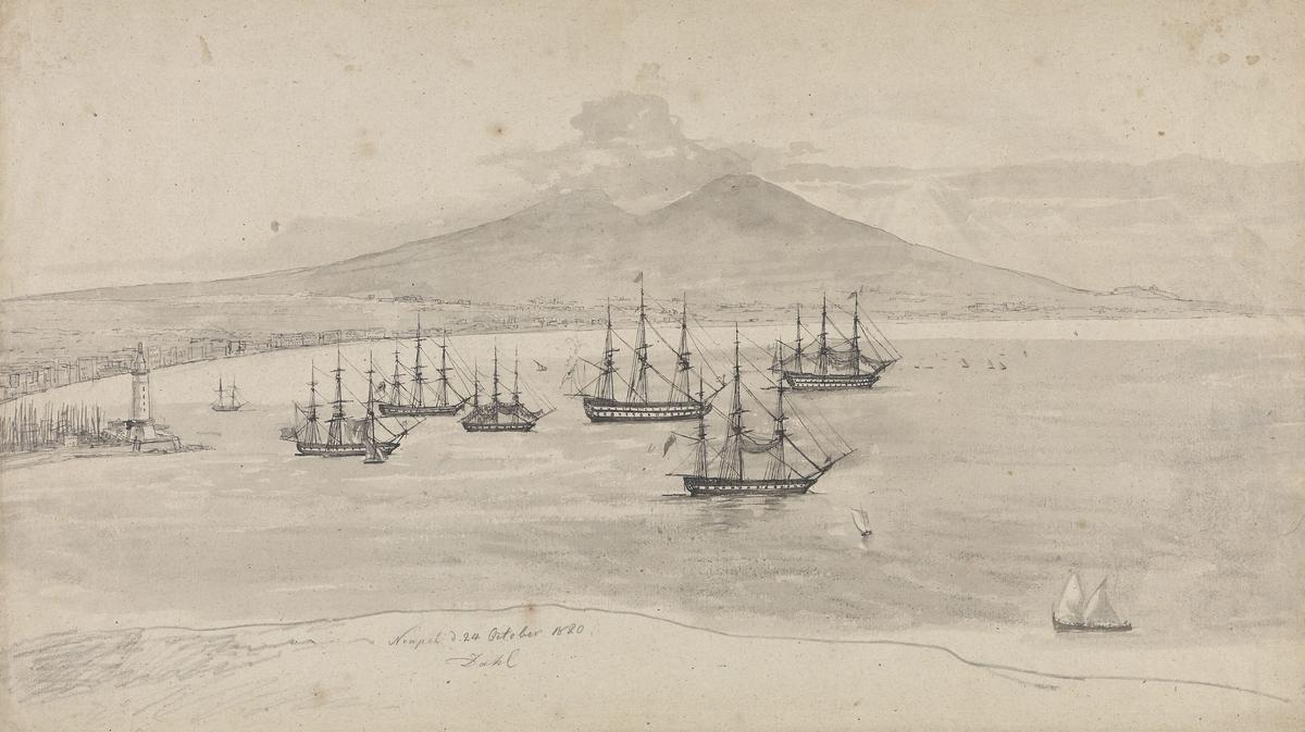 Orlogsskip på reden utenfor Napoli [Tegning]