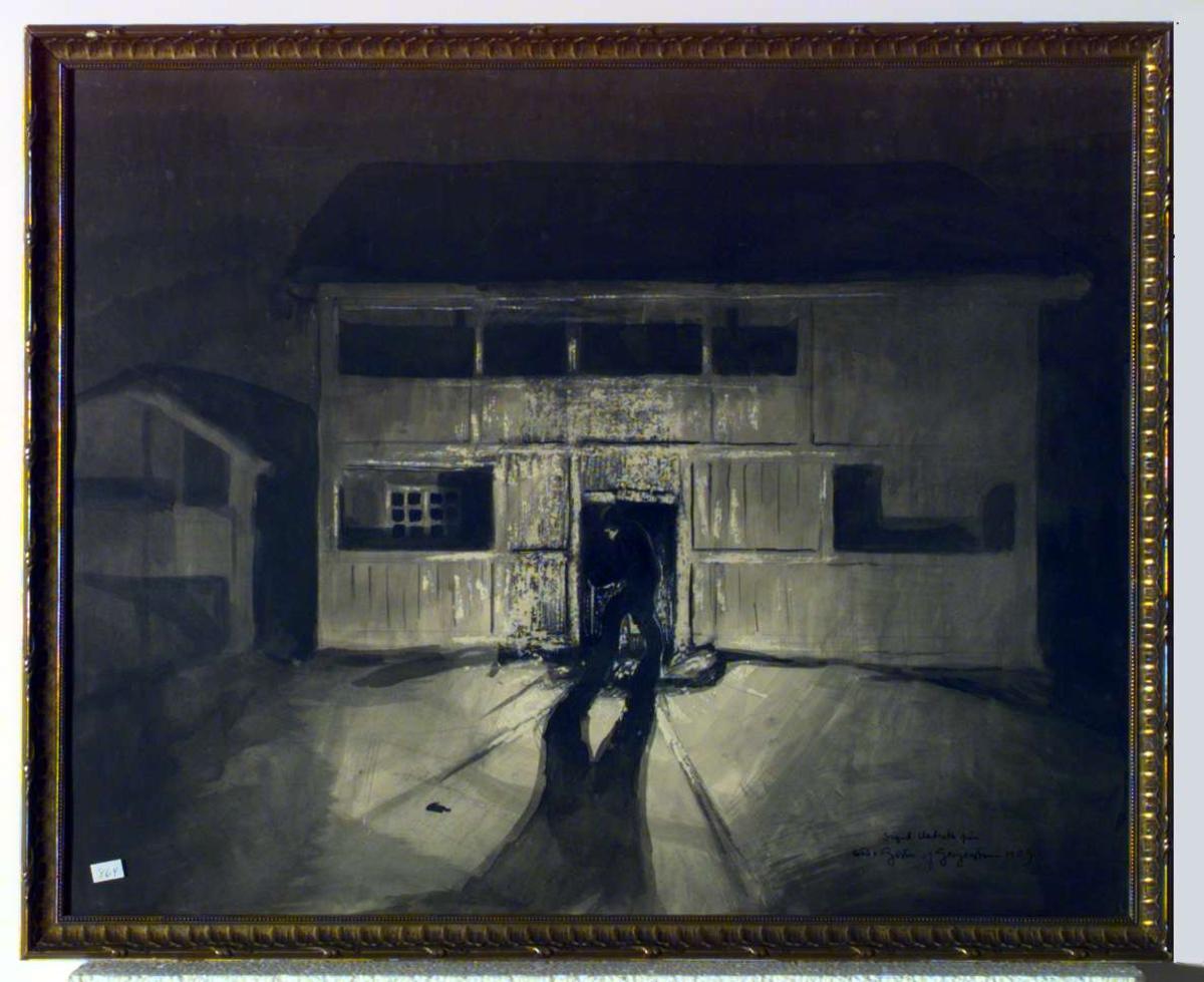 Nattlig bilde av et gammelt gårdshus, sannsynligvis fra Romundgard, Sel.