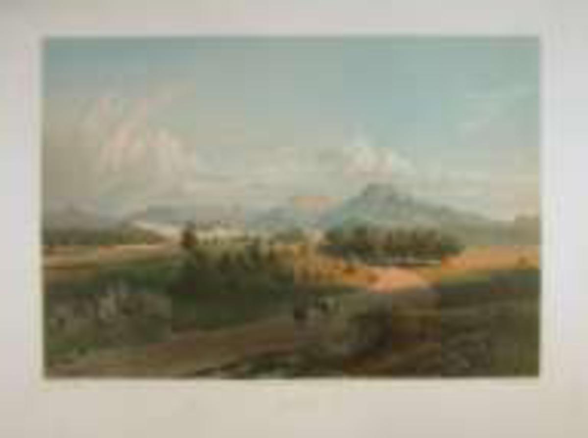 Landskap med landevei , landsby i det fjerne og fjell i bakgrunnen.