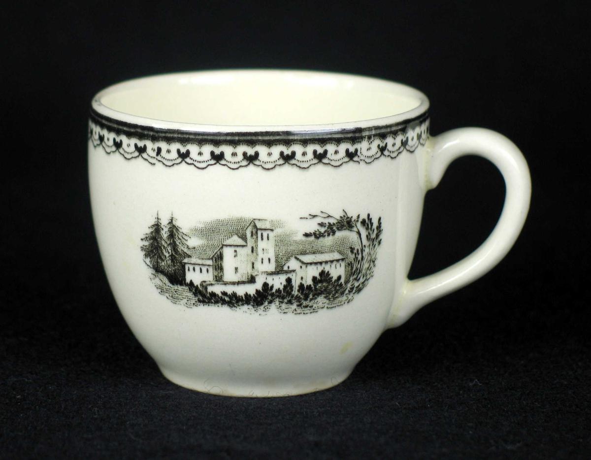 Liten kaffekopp i offwhite keramikk med sort dekor.
