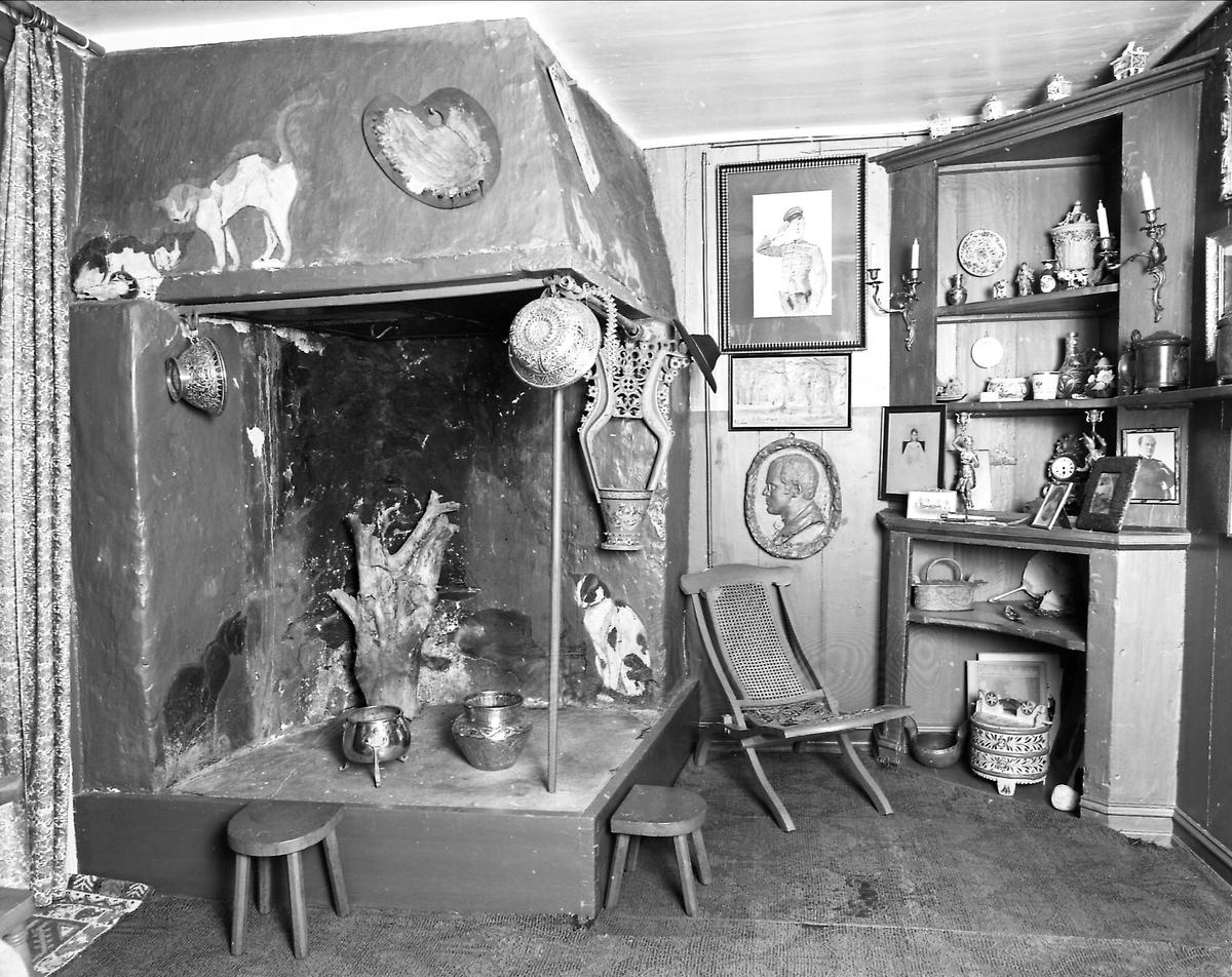 DOK:1991, Aulestad, interiør, grisehuset, peis, stol, katt,