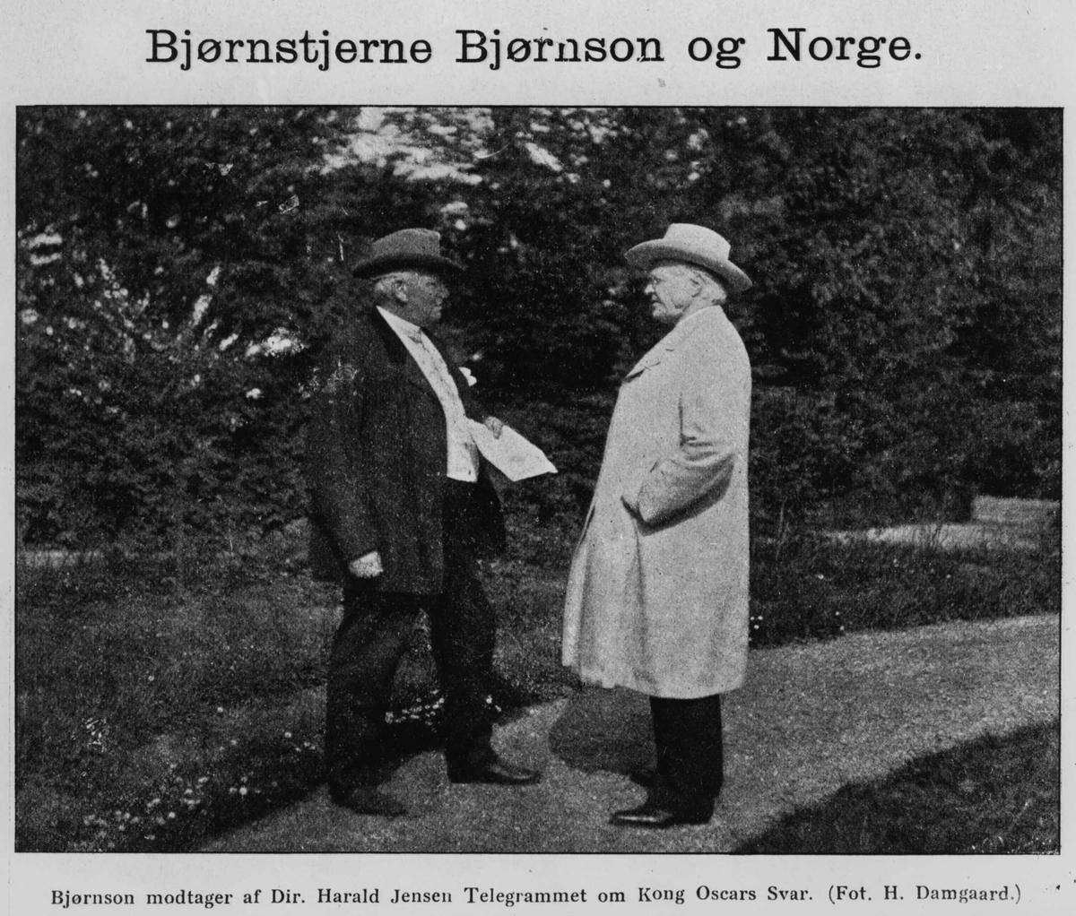 Bjørnson, Jensen, telegram, Kong Oscar,