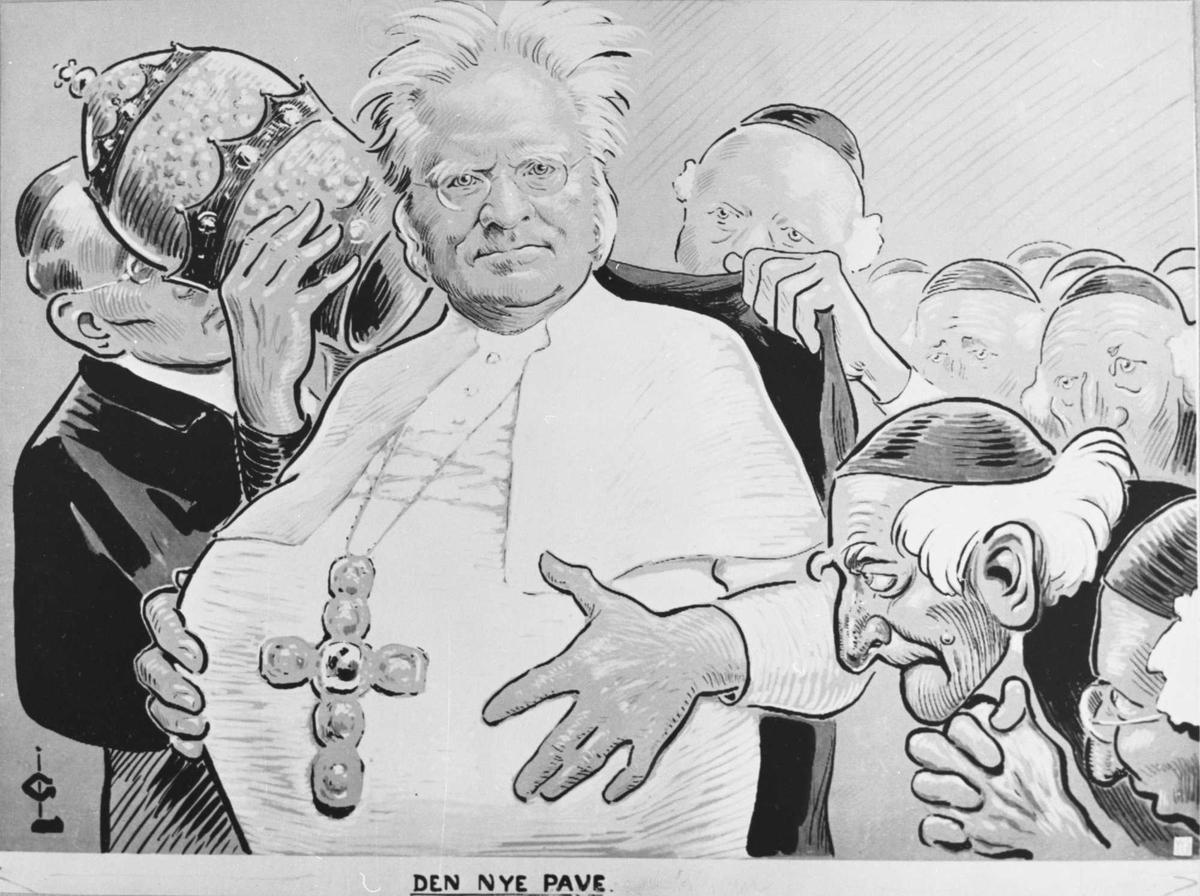 Karikatur, Bjørnson, pave, tegning, Den nye pave,