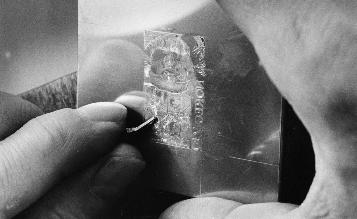 diverse, utstilling, gravering av frimerke
