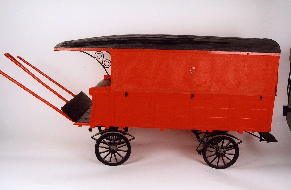 postmuseet, gjenstander, vogn, postvogn, tospent fire hjuls vogn for bytrafikk, tak, modell