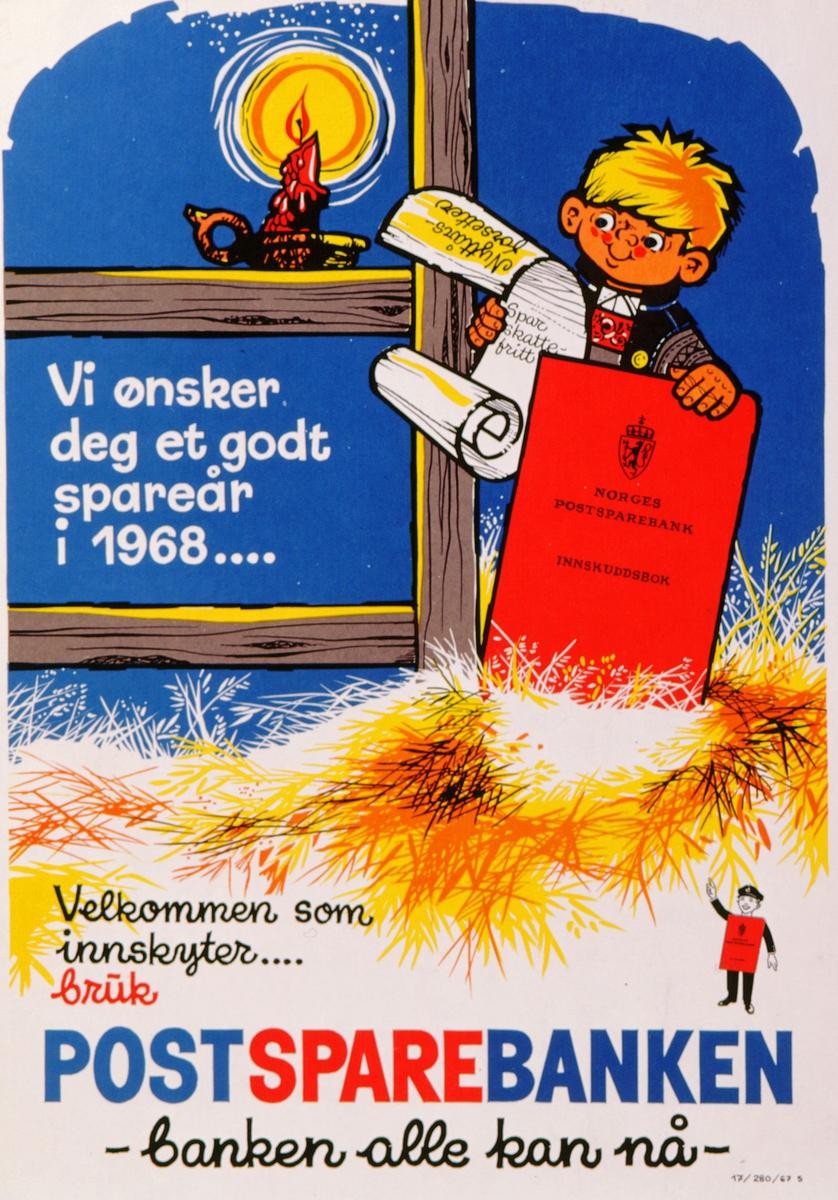 postmuseet, plakater, Postsparebanken, Vi ønsker deg et godt spareår i 1968 ... Velkommen som innskyter ... Bruk Postsparebanken - banken alle kan nå -, gutt med rød postsparebankbok og liste med nyttårsforsetter, stearinlys i stake, motivet finnes også på CD-rom PRO1, bilde nr 76
