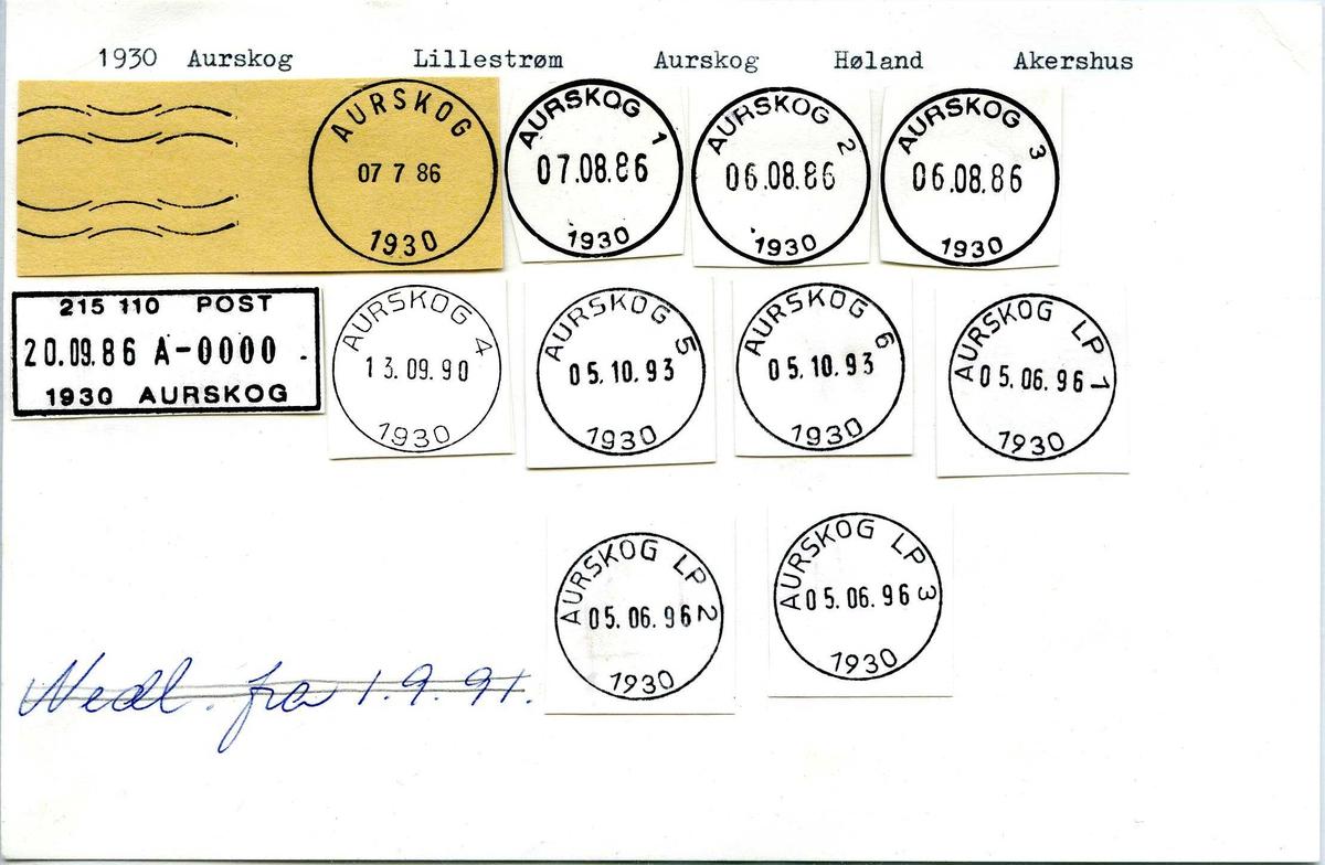 Stempelkatalog, 1930 Aurskog. Lillestrøm postkontor. Aurskog Høland kommune. Akershus.