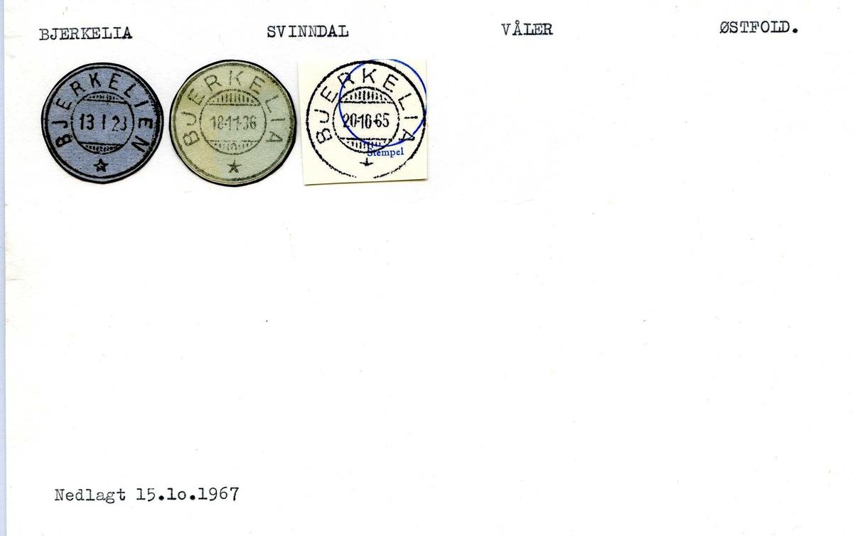 Stempelkatalog, Bjerkelia, Svinndal postkontor, Våler kommune, Østfold fylke.