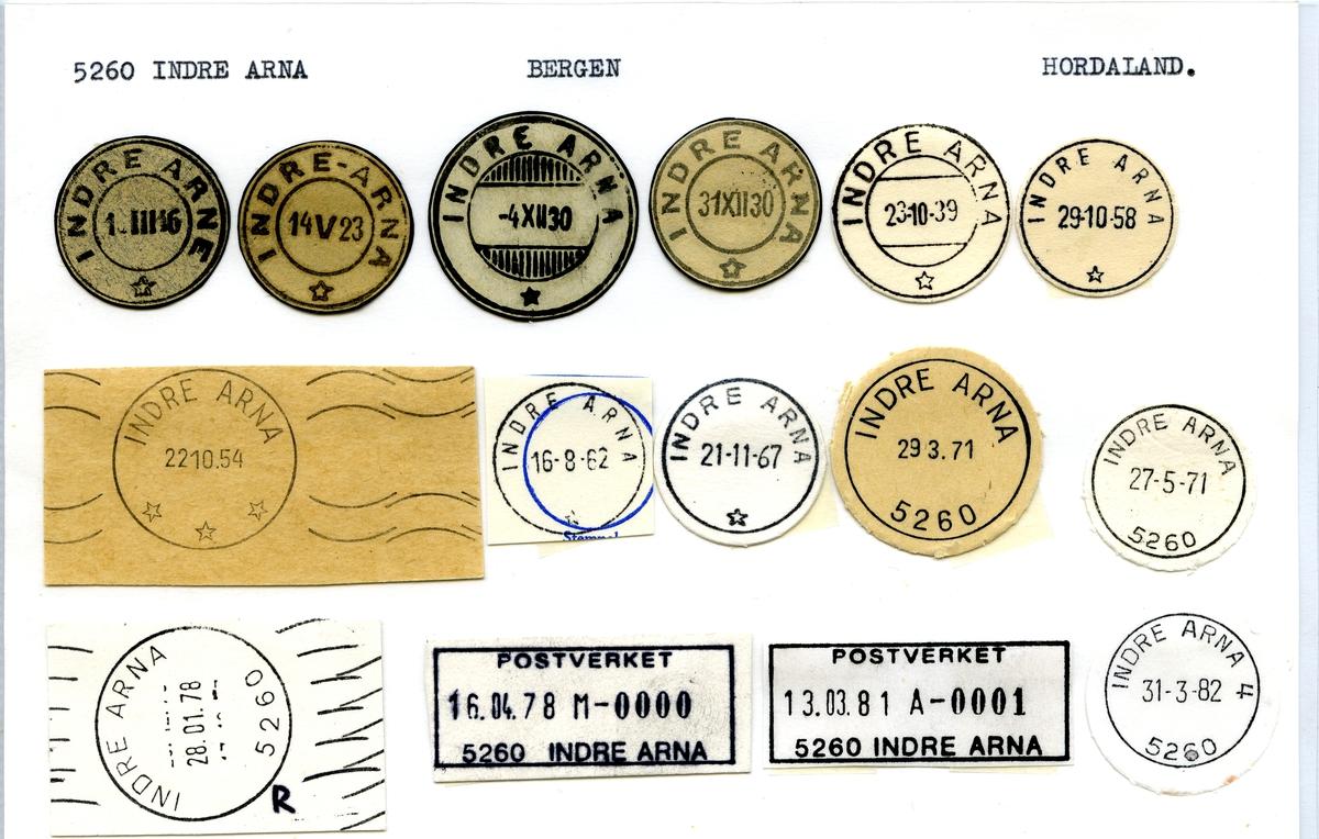 Stempelkatalog. 5260 Indre Arna. Bergen postkontor. Bergen kommune. Hordaland fylke.