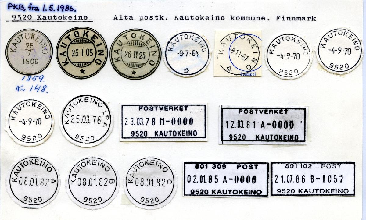 Stempelkatalog 9520 Kautokeino, Alta postk., Kautokeino kommune, Finnmark