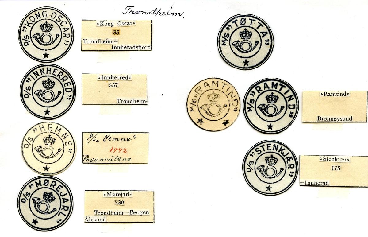 """Stempelkatalog. Ambulerende brevhus båt, D/S """"Kong Oscar"""", D/S """"Innherred"""", D/S """"Hemn"""", D/S """"Mørejarl"""", M/S """"Tøtta"""", M/B """"Ramtind"""", D/S """"Stenkjær"""". Trondheim postkontor, Sør-Trøndelag fylke."""