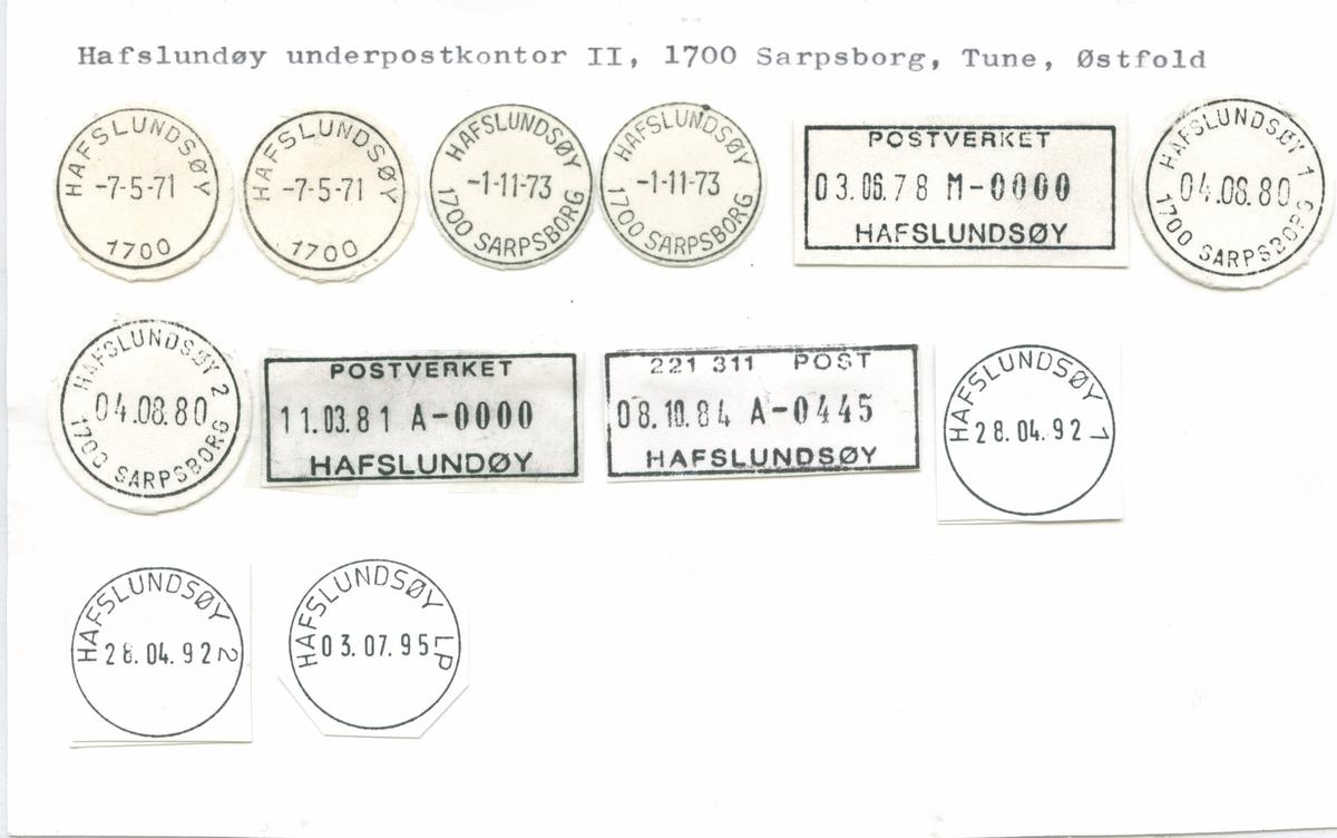 Stempelkatalog. 1700 Hafslundsøy. Sarpsborg postkontor. Tune kommune. Østfold fylke.