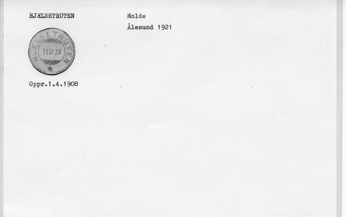 Stempelkatalog: Hjælsetruten, Molde, Møre og Romsdal (Ålesund 1921)
