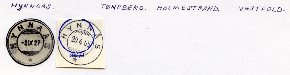Stempelkatalog Hynnås (Hynnaas), Tønsberg, Holmestrand, Vestfold
